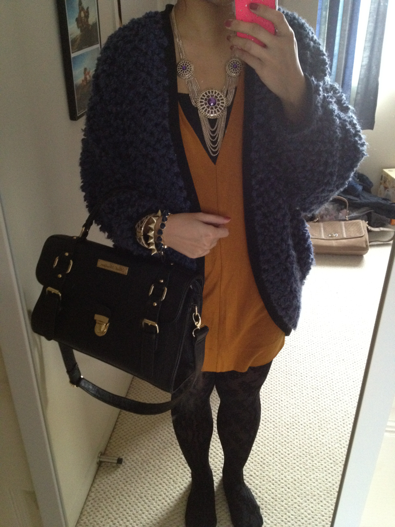 Mustard dress - From Korea Jacket - From Korea Tights - Sportsgirl Necklace - Equip Bracelet - Sportsgirl & Nastygal.com Bag - Asos  Went shopping today since it's my day off from the shop yippee!!