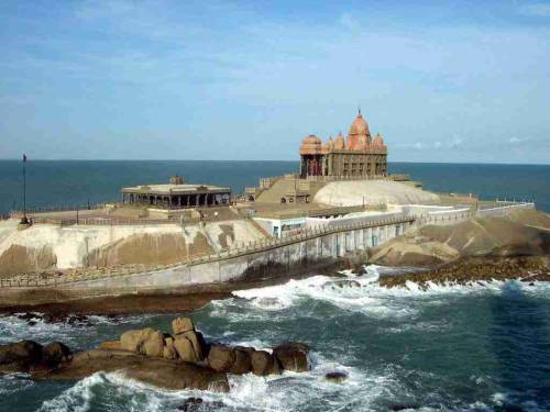 Vivekananda Rock Memorial near the confluence of Arabian Sea, Bay of Bengal and Indian Ocean at the southernmost tip of mainland India at Kanya Kumari in Tamilnadu.This rock is called Sripada Parai, meaning the one being blessed by the touch of the sacred feet of the goddess Kanya Kumari.