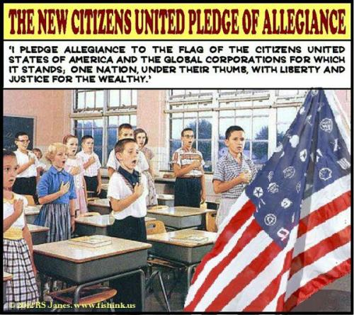 diegueno:  Got fascism? Factoid: did you know that The Pledge became compulsory to recite the pledge during The Cold War?