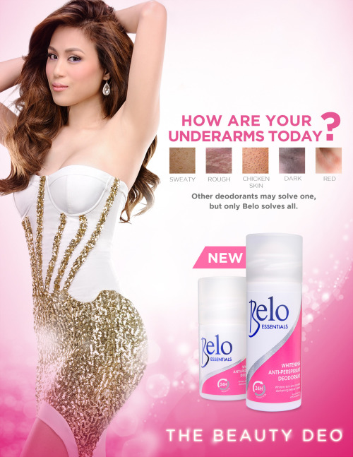 Client: Belo Essentials Anti-perspirant Agency: DM9 JaymeSyfu Credits: Merlee Jayme (Chief Creative Officer) Biba Cabuquit (Associate Creative Director/Copywriter) Dee Taar (Art Director/FA Artist) Allan Montayre (ACD / FA Artist) Mica Reyes (Art Director) Lieza Punzalan, Ina Vargas (Accounts) Sheila Villanueva (Print Producer) Xander Angeles (Photographer) Pam Quinones (Stylist) Chryst (Make up)