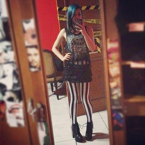 Today's #outfit. Lol @ my old room decor… #stripes #lipservice #leggings #jeffreycampbell #boots (Taken with Instagram)