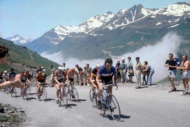 Get excited.  mostexerent:  Bernard Hinault leading Pollentier, Zoetemelk and Martinez up the Tourmalet in Hinault's first Tour de France in 1978. Picture comes from L'Equipe, thanks to Cycling Art Blog for the photo.