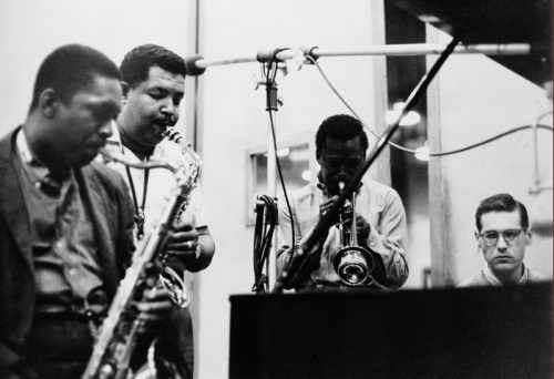 John Coltrane, Cannonball Adderley, Miles Davis and Bill Evans at the Kind of Blue Recording Sessions, New York City, 1959