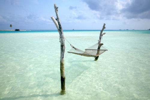 A nice hammock set-up in the Maldives