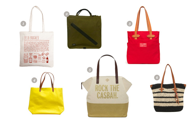 Our Tote Round Up By Jauretsi It's that time of the year to break out those big colorful bags to fit all your thingies — beach towels, iPads, lotions, and books … all while not feeling guilty about kicking it around the sand. 'Tis the season to put away your expensive leather purses and bust out the Summer Tote. Here's a few of our faves… (1) One and The Same, Pasta Bolognese Bag ($26)  (2) Saturdays & Porter Collaboration Tote Bag ($299)  (3) Filson Red label 4 Pocket Canvas Tote Bag- Red ($105) (4) Madewell The Leather Transport Tote- Bright Lemon ($168) (5) Kate Spade Rock The Casbah Terry- ($248) (6) Roxy - Jump Ship Bag ($48) [MORE] We spotted a few designer Totes floating around eBay this week from Kate Spade to Betsey Johnson that are itching to get bought. If you miss these, keep searching away. There's always an abundance of Totes in our closet.