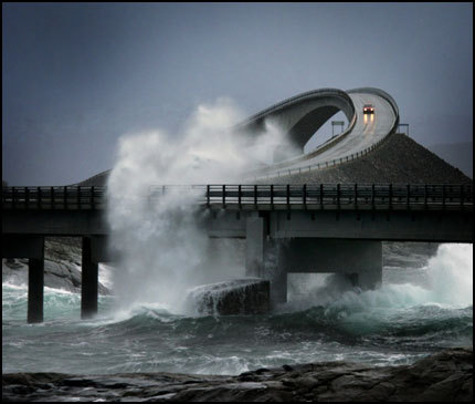 The Atlantic Road in Norway…built high enough for the waves to crash through.