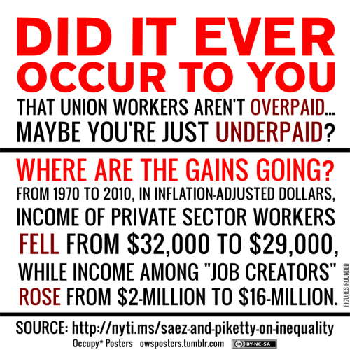 (via herblondness)  owsposters: Are Your Non-Union Wages Being Kept By The Rich? Download the poster pack