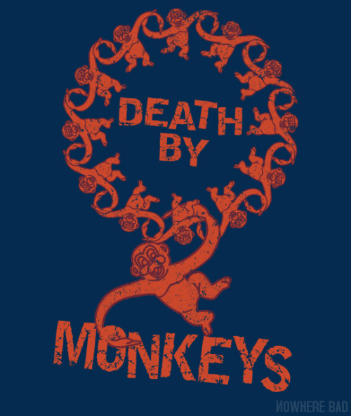 "teefeed:  Nowhere Bad: ""Death by 12 monkeys"" by Purple Cactus."