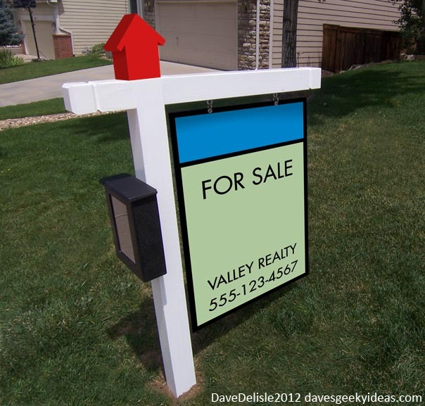 "ianbrooks:  Monopoly Real Estate Signs by Dave Delisle Perturbed by unwieldy realty signs and harboring a secret vendetta against networking realtors, Dave decided to simplify the ""for Sale"" sign while giving it a recognizable and more welcoming board game aesthetic. Though have you ever stayed up late playing a never-ending game of Monopoly with your family? These signs look cool but I may go all conditioned response and start instinctively biting grandma's hand if I saw one.  Artist: website / facebook / twitter"