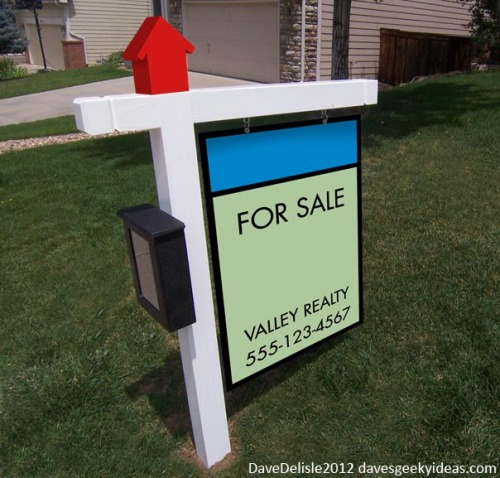 "Monopoly Real Estate Signs by Dave Delisle Perturbed by unwieldy realty signs and harboring a secret vendetta against networking realtors, Dave decided to simplify the ""for Sale"" sign while giving it a recognizable and more welcoming board game aesthetic. Though have you ever stayed up late playing a never-ending game of Monopoly with your family? These signs look cool but I may go all conditioned response and start instinctively biting grandma's hand if I saw one.  Artist: website / facebook / twitter"