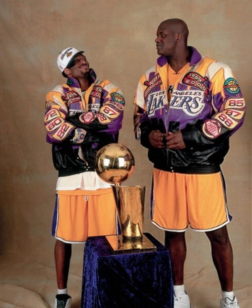 Kobe: I'm really glad we decided to take this photo, Shaq. This will truly be a timeless image. Shaq: After we've won our 14th consecutive championship with one another, we'll look back and realize that our friendship is as timeless as these totally not ridiculous leather jackets. Kobe: I concur with all of those statements! [Editor's note:  :'(  ]