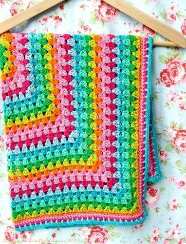Fab rainbow granny square afghan.  Blanket via we heart it.