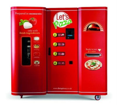 Let's Pizza, Pizza-making Vending Machine, by A1 Dutch company A1 concepts will soon debut the world's first pizza-making vending machine, Let's Pizza, in the United States. The machine was created by Italian designer Claudio Torghele, makes pizza in less than 3 minutes using an infra-red oven.