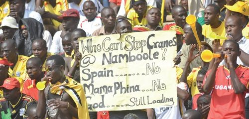 """Our favourite banner from Namboole (on Sunday 17th June) as The Uganda Cranes defeated Congo Brazzaville 4-0""  via  The New Vision"