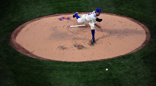 "R. A. Dickey has tried to play down the dominance of his knuckleball, the enchanting novelty of his remarkable performance this season. However, with each successive start, it is becoming harder for him to do so with any credibility. On Monday, Dickey became the first pitcher to record back-to-back one-hitters since Dave Stieb in 1988. He manhandled the Baltimore Orioles for 2 hours 7 minutes to carry the Mets to a 5-0 win at Citi Field. - Andrew Keh, New York Times Read the rest: ""Dickey Pitches Another One-Hitter"" Photo by Barton Silverman/NY Times"