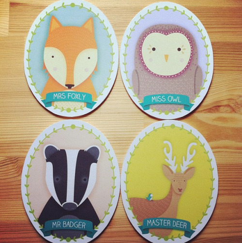 Beermat Characters by Joanne Hawker. Including Mrs Foxly, Miss Owl, Mr Badger and Master Deer.