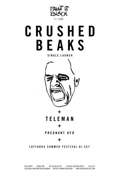 paintitblacklondon:  CRUSHED BEAKSLondon's Crushed Beaks have returned with a new one-off track, 'Grim', released digitally through Paint It Black.http://soundcloud.com/crushed-beaks/grimThe two-piece will celebrate the unveiling of 'Grim' with a series of shows, including dates at London's Old Blue Last and an appearance at Sheffield's Tramlines Festival.Crushed Beaks first made a serious impression last year with the 'Close-Ups / Sun Dogs' single, released through Too Pure Singles Club. After cementing their status as a live act to be reckoned with, as well as finding themselves named Ones Tp Watch for 2012 by The Line of Best Fit and The 405, they combined with fellow London newcomers Torches as part of a split release, with Torches covering Crushed Beaks' 'Close Ups' and Crushed Beaks returning the favour with a glorious take on Torches' 'VTOO'.'Grim' shows a slight departure from the heady walls of noise that defined the band's debut release. A shift in production focus away from the wall-of-sound pop of 'Sun Dogs' shows the pair placing Matt Poile's vocals higher in the mix, incorporating bursts of math-rock guitar, all whilst retaining their breakneck speed and sheer level of force, with the track spanning below the two minute mark.http://www.facebook.com/pages/Crushed-Beaks/143330852420879TELEMANNew London group Teleman have seemingly appeared from the abyss, however the handful of tracks that have come to light so far show them to be worthy of close attention.The three-piece's simple, sonorous brew of guitar, drum and synths is not at all unusual, happily where they immediately stand out from the rest is in the variety and quality of their compositions. The few intelligently crafted, indie-pop songs that have come to light reveal a class act that instantly sparks musical curiosity whilst being a thoroughly enjoyable listen. http://telemanband.tumblr.com/PREGNANT UFOAnother brand new act, this time from Koichi of the Screaming Tea Party and The Catcher Nine. http://www.facebook.com/pages/Pregnant-UFO/228741693908606http://soundcloud.com/thecatchernine