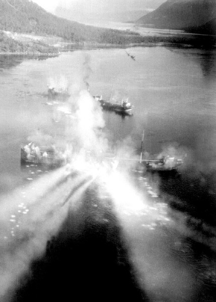 Shot from an R.A.F Bristol Beaufighters gun-camera.