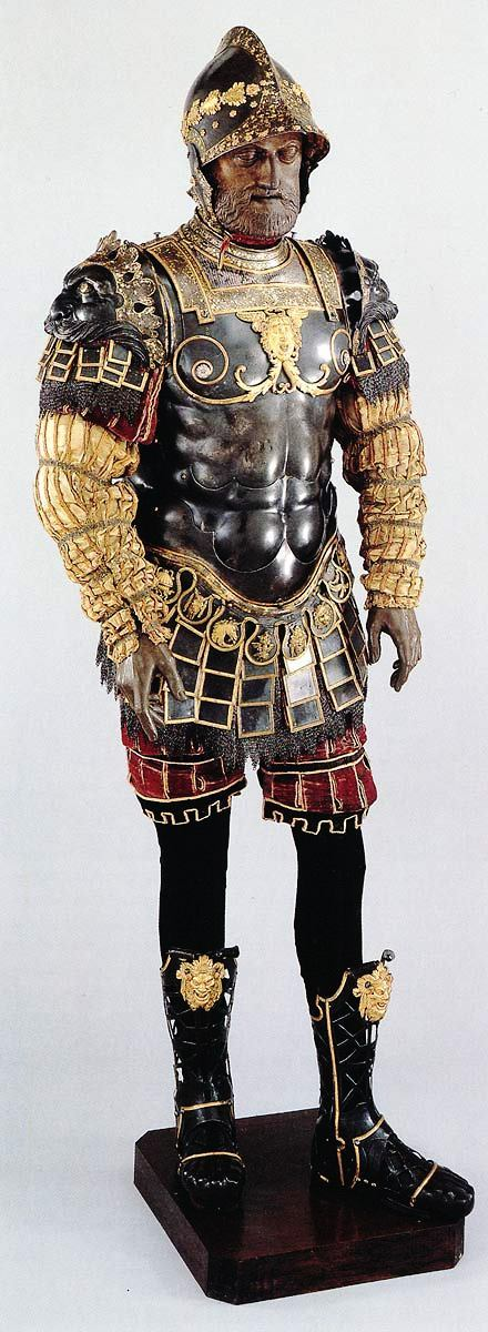 Bartolomeo Campi (Italian, died 1573) Roman-Style Armor Given to Philip II of Spain (Pesaro, 1546) [Embossed and gold- and silver-damascened steel; brass and fabric] Patrimonio Nacional, Real Armería, Madrid, Spain  Roman-style armor recalled the leather cuirasses of antiquity, which imitated a warrior's muscled chest. Although such armor is often depicted in Renaissance tapestries and paintings, this suit is the only complete surviving Roman-style armor in the world. Presented as a gift to King Philip II of Spain, it served as the model for the armor worn by the fallen figure of Sisera in the painting by Pedro Núñez del Valle, Spanish Baroque artist.