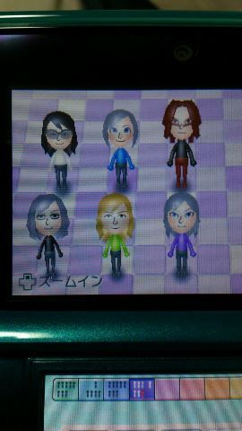 Sound Horizon Miis in my nintendo 3ds. Upper left to right: Revo, Hiver, Shaytan; Lower left to right: Marchen, Idolfried, Elefseus