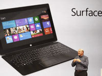 "Microsoft Announces Surface Tablet/PC When Steve Ballmer took the stage at Microsoft's mysterious press event in Hollywood, the bloggers in the audience gasped, but they didn't start to applaud until they saw just what the Surface tablet/PC hybrid he announced could do. After a long prologue about Microsoft's legacy of launching hardware — from the mouse to the XBOX — Ballmer debuted the tablet designed to work with Microsoft's Windows 8 operating system — ""its own companion hardware innovation."" What really distinguishes Surface from Apple's iPad is the fact that it has all the computing power of a PC, and with snap-in keyboards and a kick stand, it actually turns into a mini laptop.  Full Story  Photo:Bloomberg 