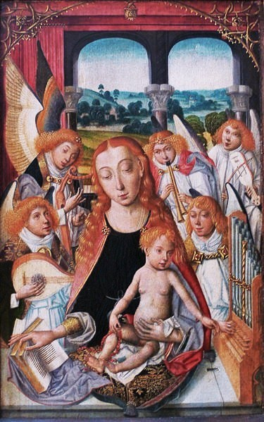 uglyrenaissancebabies:  Unknown Dutch Painter, 15th century, Virgin with Angels One: Wow, Mary apparently had an epic lobotomy. Two: Everyone knows that gingers don't have souls. This painting is such bullshit.