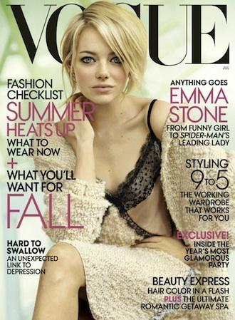 Emma Stone is to be featured on the cover of next month's Vogue Magazine and she looks great! Emma Stone is starring in the new upcoming The Amazing Spider-Man and has received nothing but praise from her co-stars and co-workers.