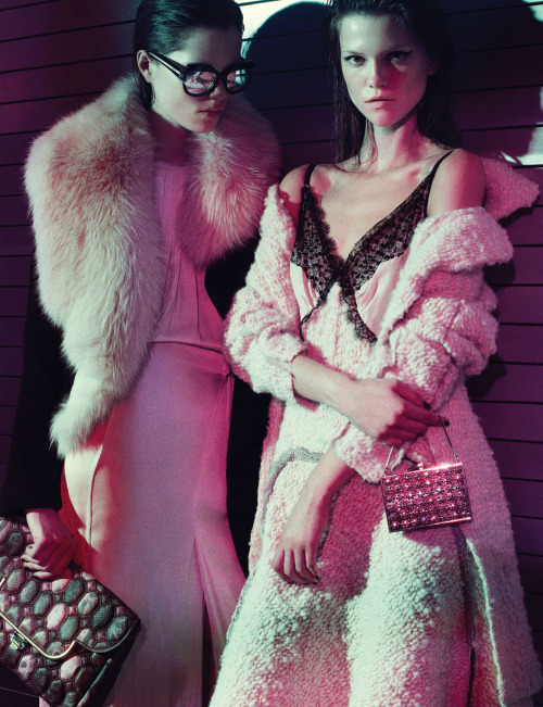 Kasia Struss and Caroline Brasch Nielsen photographed by Robbie Fimmano for Interview (June/July 2012).