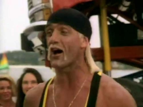 TV Show: Thunder In Paradise Episode: Queen of Hearts (Season 1, Episode 13) Air Date: 7/15/1994 Wrestler(s) captured: Terry Funk (as Amarillo Doaks), Hulk Hogan (as Randolph J. 'Hurricane' Spencer) IMDB Page: Thunder In Paradise - Queen of Hearts