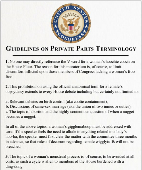"Congressional Private Parts Guidelines [Click to continue reading] Rep. Lisa Brown (D-Michigan) was temporarily banned from speaking on the House floor for a day, on account of her saying the word ""vagina"" during an abortion debate. She should have just paid attention to the guidelines."