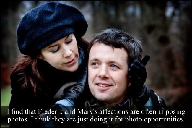 "[Post by Mary]  ""I find that Frederik and Mary's affections are often in posing photos. I think they are just doing it for photo opportunities."" — Submitted by Anonymous"