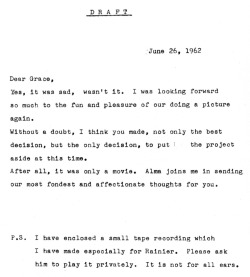 printed-ink:   Draft copy of Alfred Hitchcock's reply to a letter from Grace Kelly, in which she expressed her disappointment for not being able to play the title role in Marnie (1964).  (Via)
