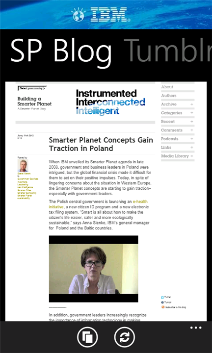 Smarter Planet App  | Windows Mobile  Be one of the first people in the world to try the new Smarter Planet for Windows Mobile devices!
