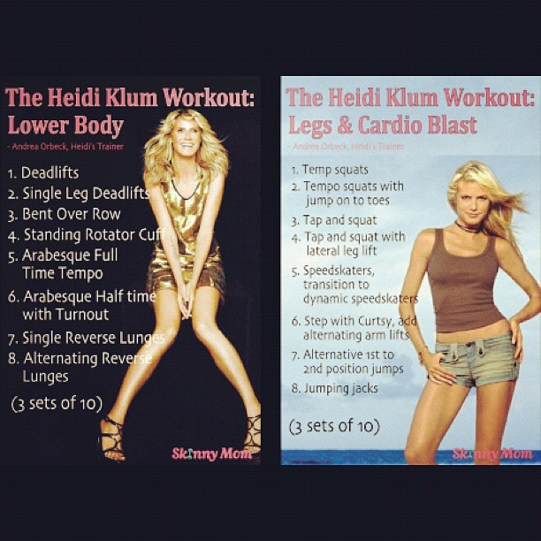 prettyandfit:  Heidi Klum workouts! (Taken with Instagram)