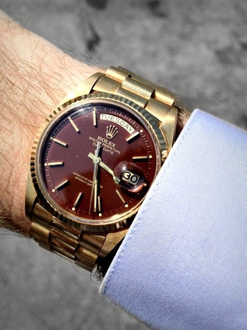 watchanish:  Vintage yellow gold Rolex ref: 1803 with a faded 'oxblood' dial
