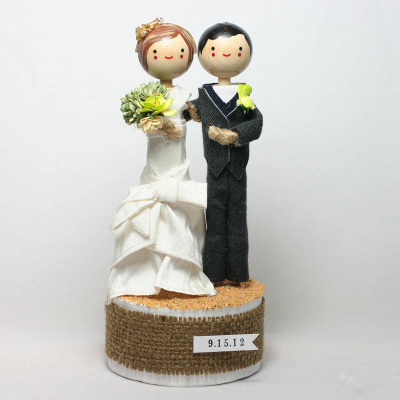 Wedding No. 610 - Custom Wedding Cake Topper with headpiece and sand base