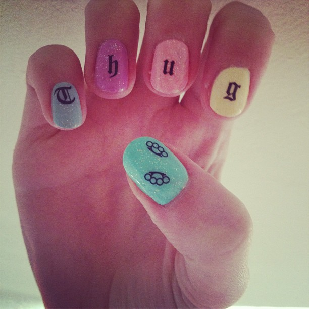 diynails:  THUG LIFE decals  with brass knuckle thumbs  (Taken with Instagram)