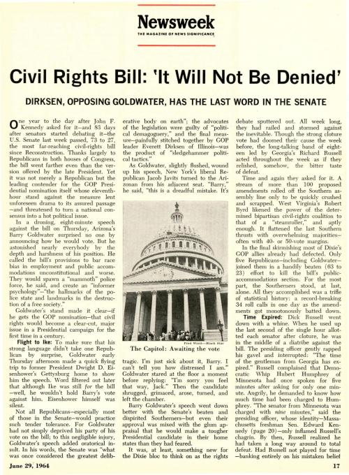 nwkarchivist:  On This Date In 1964- The Civil Rights Act Approved After A 83-day Senate Filibuster Newsweek June 29, 1964   Filibusters, what are they good for?