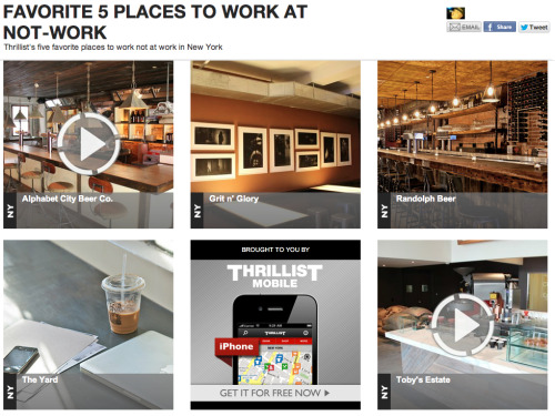 "theyardblog:  Thrillist says about The Yard: ""Private/co-working collective office at the nexus of Williamsburg and Greenpoint, whose 14,000 sq.ft. are equipped with 'fastest speed WiFi' and 200+ private desks…"" Read more: http://www.thrillist.com/money/new-york/ny/11222/brooklyn/the-yard_jobs_real-estate_services#ixzz1yFnULdRm  Lots of talk about making Brooklyn (and more generally NYC) a tech center, but our good friends at The Yard are actually doing something to make that happen. Uber NYC has a double-office here and we couldn't be happier. The Internet is fast, the coffee is tasty, and the people are nice. It lets us focus on things like growing our business rather than office overhead. 10 minutes from the Bedford L train or 1 minute from the Nassau Avenue G train. The whole thing brings me back to my 718 roots. I love The Yard!"