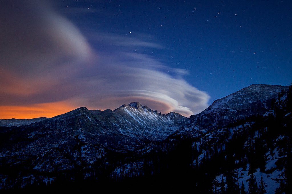 imprecise:  Lenticular Clouds Over Longs Peak (by Erik Page Photography)