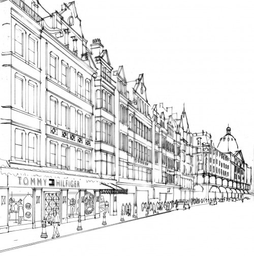 Sketch on the Tommy Hilfiger flagship store in London.