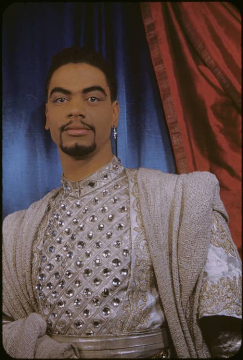 "vintageblackglamour:  Earle Hyman as The Prince of Morocco in ""The Merchant of Venice."" The Shakespearean actor, now best known as Grandpa Huxtable on ""The Cosby Show,"" was photographed by Carl Van Vechten on March 10, 1953. Photo: Beinecke Rare Book and Manuscript Library"
