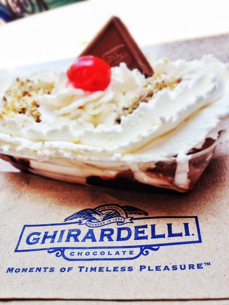 Ghiradelli Soda Fountain & Chocolate Shop at the Pacific Warf is definitely worth a try! Yum! And hooray for having a sweet tooth and crazy cravings! We tried the three scoop Cable Car!