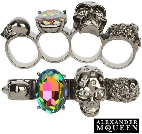Smoky Swarovoski Crystal Skull Knuckle Duster Ring from  Alexander McQueen's Fall/Winter 2009 Collection. It has a delightful rainbow Swarovski crystal to match up the hard look of the surrounding skulls.