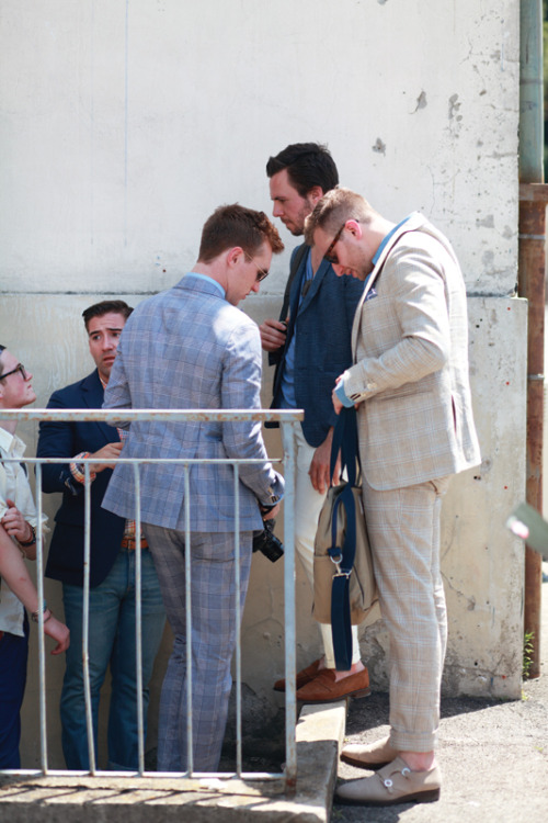 justinchungphotography:  Noah, Gabe, Zeph, Sean, and Lawrence, at Pitti Uomo.  C'mon Peeps who are in Florence! Be nice and send some pics from what's going on to those of us who couldn't make it. #pittiuomo #florence #menswear