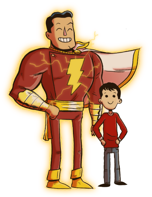Chris Haley drew a Captain Marvel and Billy Batson. I flatted it ages ago because he had stuff to get done and then I finished it for funsies. *edit* whoops, fucked up the resize.