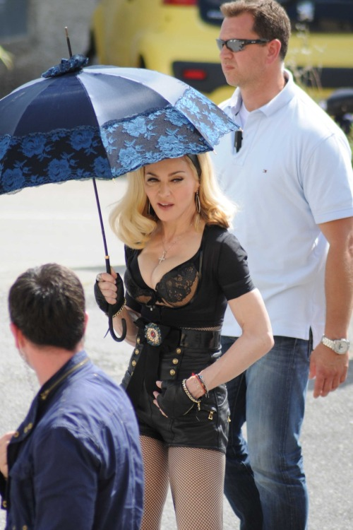 Madonna flashes major cleavage on set of new music video!