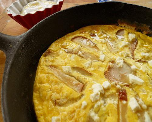 Recipe: Pear Frittata with Feta and HoneyGround flaxseed is an excellent source of omega 3s and an even better substitute for eggs when three or more are required in recipes.5 healthy breakfast dishes