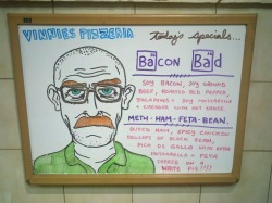 specialbored:  My Bacon Bad Special Board from last year made FunnyorDie.com's Top 12 Restaurant Signs…. Funny or Die Top 12 Restaurant Signs..