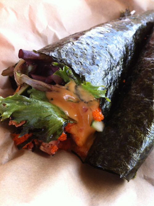 Musubi Hand Roll from Fresh Off the Truck  I can only describe this as…MMMMM!! I loved everything about it! I'm drooling just posting this…